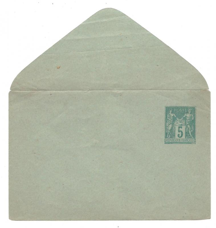 France Postal Stationery Small Envelope 5c Green Unused