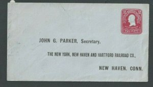 Ca 1906 U398 2c Carmine On Blue Mint Entire Preaddressed To New York New Haven--