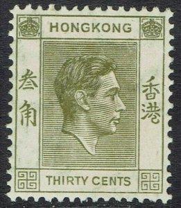HONG KONG 1938 KGVI 30C PERF 14