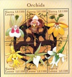 Sierra Leone MNH S/S Orchids Flowers 6 Stamps