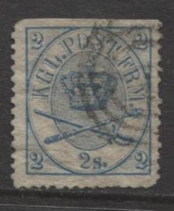 Denmark - Scott 11 - Royal Emblems Issue -1864 - Used - Single 2s Stamp