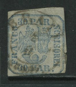Romania 1862 30 pa blue CDS used