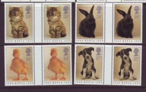 Great Britain Sc 1300-3 RSPCA animals gutter prs mint NH