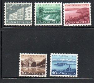 Switzerland Sc B242-46 1955  Pro Patria, views, stamp set mint NH