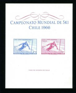 Chile C266 and 267 1966 Skiing Championships Imperf Sheet