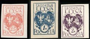 CENTRAL LITHUANIA / MITTELLITAUEN - 1920 Mi.1B/3B Mint** - ref.881b