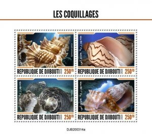 2020/06- DJIBOUTI - SHELLS        4V MNH**