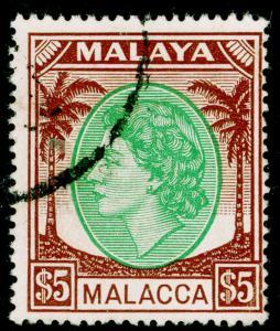 MALAYSIA - Malacca SG38, $5 emerald & brown, FINE USED. Cat £55.