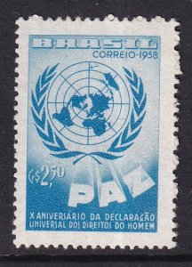 Brazil   #886   MNH   1958   UN declaration human rights