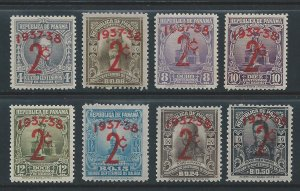 Panama #303-10 NH Bolivar, Yczaz, Statue, etc Issues Surcharged
