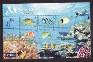 BIOT-Sc#341-unused NH sheet-Marine Life-Damselfishes-Turtles-2008-