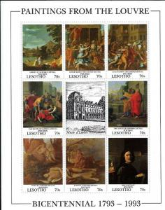 Lesotho 1993 Paintings From The Louvre Museum 8 Stamp Sheet 12E-009