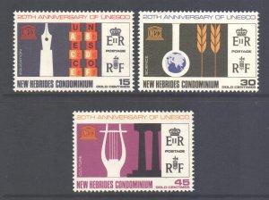 Vanuatu New Hebrides Scott 120/122 - SG122/124, 1966 UNESCO Set MNH**