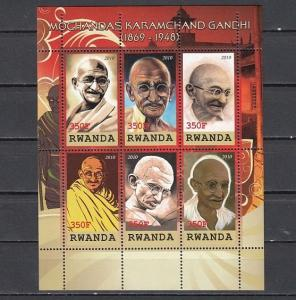 Rwanda, 2010 Cinderella issue. Mahatma Gandhi sheet of 6.
