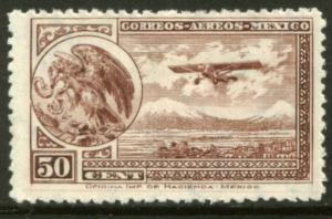 MEXICO C16, 50cts Early Air Mail Plane and coat of arms MINT, NH. F-VF.