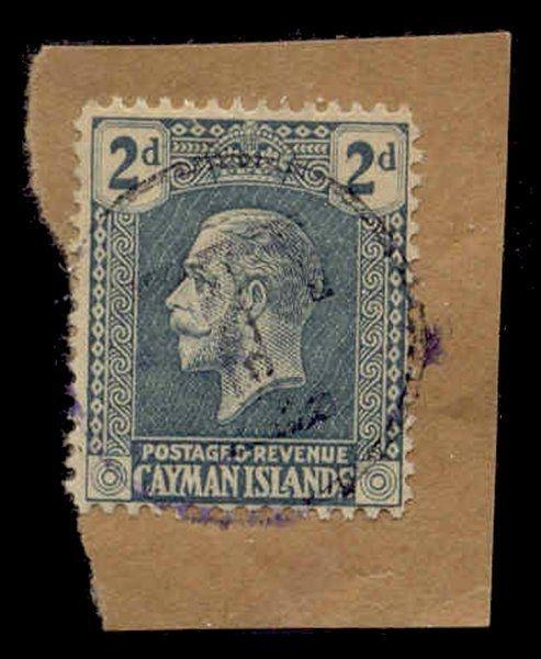 Cayman Islands 1921 2d with 'T' Postage Due Strike in Violet on Piece