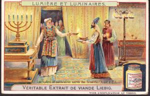 Liebig Card.. in French from the Lumiere et Luminaires series Judaica Candles