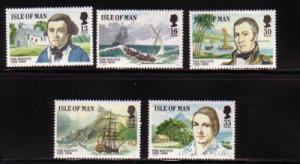 Isle of Man Sc 389-93 1989 Mutiny Bounty stamp set mint NH