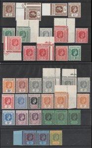 LEEWARD ISLANDS : 1938 KGVI ¼d to 5/-, plus shades & papers.