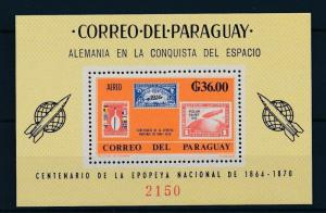 [35583] Paraguay 1966 German contribution Space travel Perforated Sheet MNH