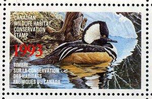 CANADA 1993 DUCK STAMP MINT IN FOLDER AS ISSUED HOODED MERGANSER by Ken Ferris
