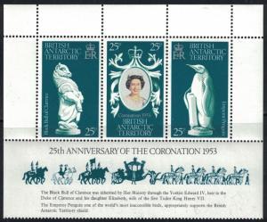 British Antarctica SC71 Souv.Sht.-25thAnniversary-Coronation MNH 1978