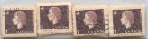 Canada USC #401as Used (100) 1c Cameo Singles ex Booklets F-VF