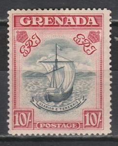 GRENADA 1938 SHIP 10/- NARROW SETTING PERF 14 BLUE AND CARMINE