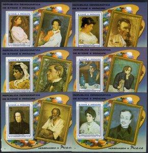 Sao Tome and Principe 1982 Mi#Bl.107A/112A PICASSO 6 Souvenir Sheets Perf.MNH