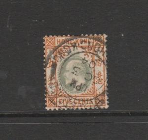 Hong Kong 1903 Crown CA 5c Used SG 65