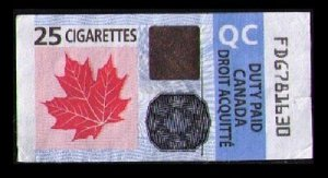 CANADA 2011 DUTY PAID TAX STAMP 25 CIGARETTES TOBACCO REVENUE QC (QUEBEC)