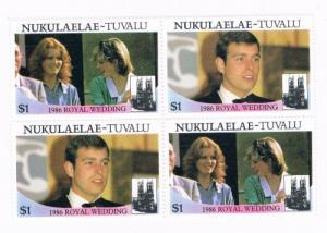 Tuvalu Nukulaelae 62a-b Pair MNH Blk 4 Royal Wedding 1986 (T0022)
