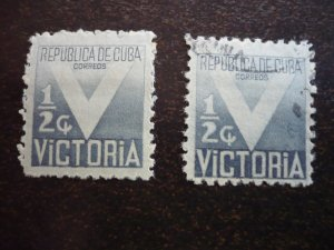 Stamps - Cuba - Scott# RA6 - Mint Hinged & Used set of 2 Postal Tax Stamps