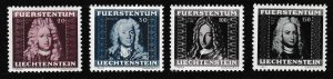 Liechtenstein 1941 Johan Adam Andeas Set of 4 Scott 172-75 cat. $11. VF/NH/(**)