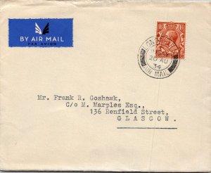 London UK > Goshawk Glasgow 1934 air mail GV 1½d