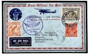 AUSTRALIA & NEW GUINEA Franking Air Mail 1934 First Flight Cover {samwells}Y137b