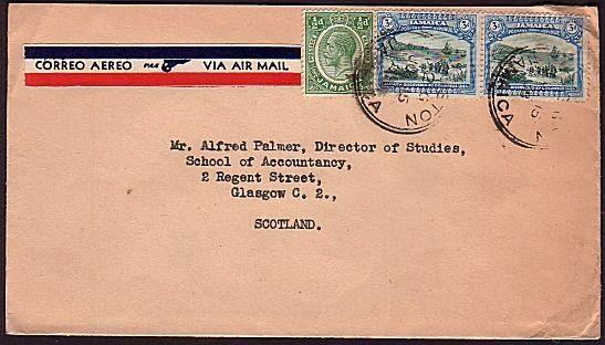 JAMAICA 1938 airmail cover to Scotland