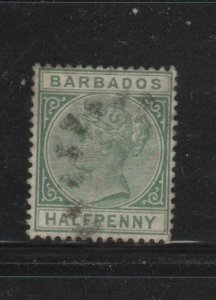 BARBADOS #60  1882  1/2p   QUEEN VICTORIA    F-VF  USED   h