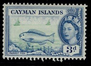 CAYMAN ISLANDS QEII SG154, 3d bright green & blue, M MINT.