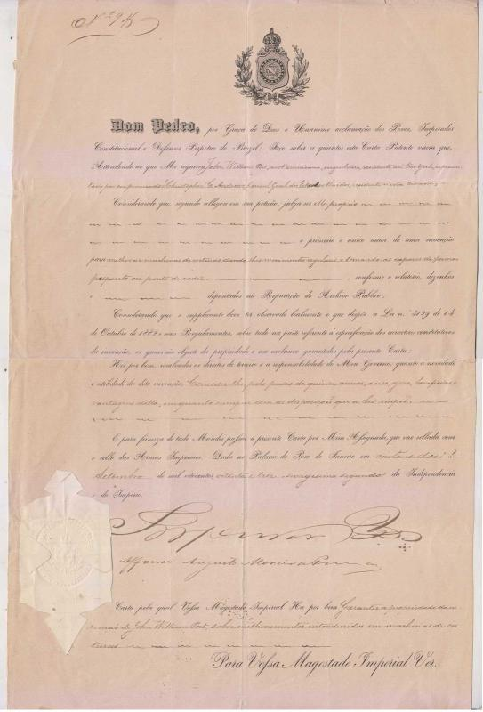 BRAZIL 1883, Sep 22 DOCUMENT SIGNED BY EMPEROR DOM PEDRO II RHM R10d2 CV$2,500