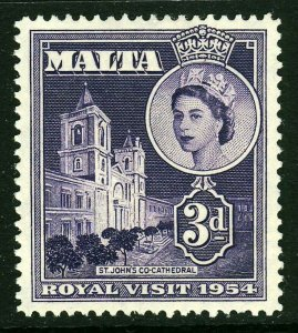 MALTA QE II 1954 3d. Royal Visit Issue SG 262 MINT