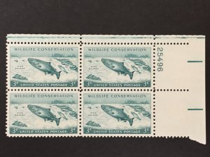 Scott # 1079 Wildlife Conservation - Salmon, MNH Plate Block of 4