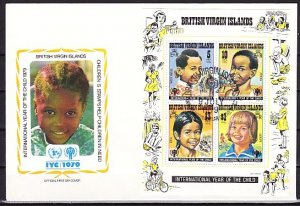 Virgin Is., Scott cat. 359a. Int`l Year of the Child s/sheet. First day cover. ^