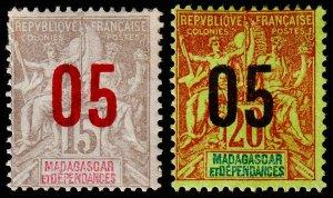 Madagascar - Malagasy Republic Scott 115-116 (1912) Mint H F-VF C