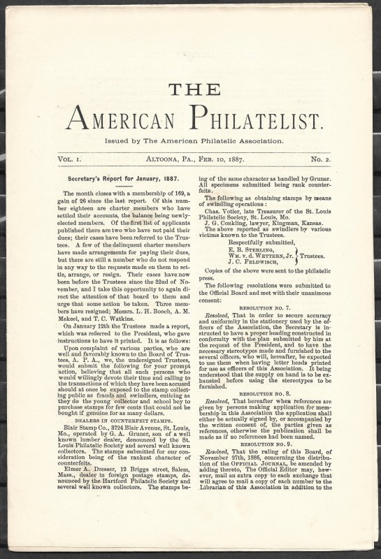 Doyle's_Stamps: APS Members' Delight- The American Philatelist, Vol. 1, No. 2