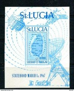 Map of St. Lucia 1967 Sc C1 Imperf Souvenir Sheet Cv $50