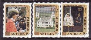 Antigua-Sc#797,799,803-unused NH with gold overprint-id3-Princess Diana-21st Bir
