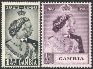 GAMBIA-1948 Royal Silver Wedding Set Sg 164-165 UNMOUNTED MINT V42952