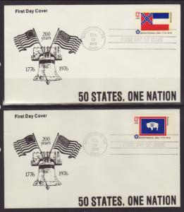 US 1633-1682 State Flags 1976 Bell S/50 U/A FDC