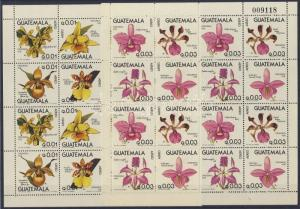 Guatemala stamp Orchids folded mini-sheet pair contain 4-4 blocks of 4 WS120726